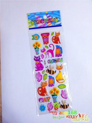 Animal Xmas Sticker 1pc Puffy Cartoon Stickers Cat Lot Craft Kid Party Toy Gifts