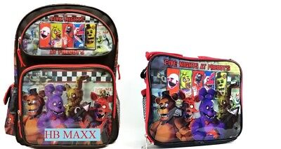 """Five Nights at Freddys Large 16"""" inches Backpack & Lunch Box - New with Tag Kids"""