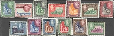 St. Vincent 156-168 Short Set  of 13 George VI Mint Hinged Definitives