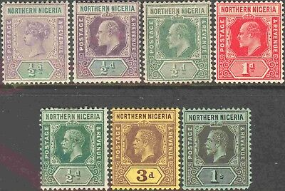 Northern Nigeria Group of 7 Mint Hinged Definitives #1,10,28-9,40,43, and 45