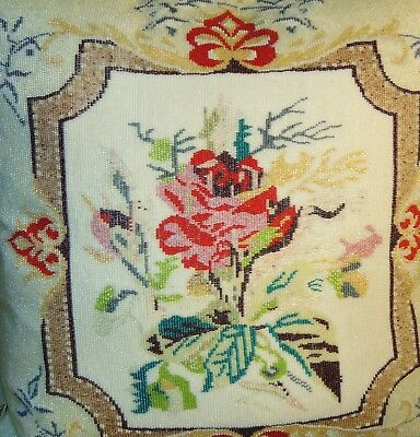OUTSTANDING! ANTIQUE Beaded Pillow RED ROSE! Victorian