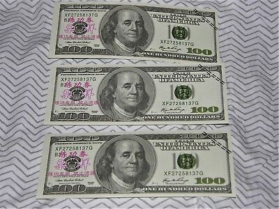 $100 U.S. Currency Play Money - Lot Of 100 Bills (   ($10,000.00)