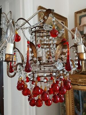 SHABBY ANTIQUE VTG ITALIAN MURANO Macaroni Beaded Chandelier Red Drops TOLE
