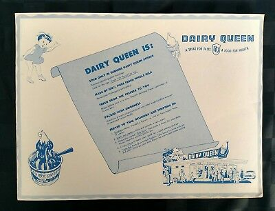 Early 1950's DAIRY QUEEN Paper Place Mat DQ
