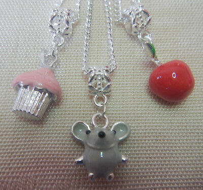 3 girls 3d enamel charm pendant necklaces cupcake smiling mouse apple & gift bag