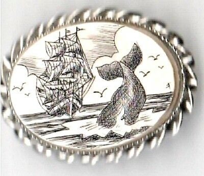 Vintage Scrimshaw Brooch with Whale Sailboat and Ocean Scene