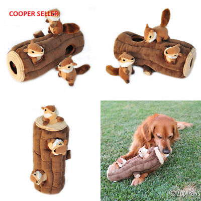 ZippyPaws X-Large Burrow Log and Chipmunks Squeaky Hide Seek Plush Dog Toy