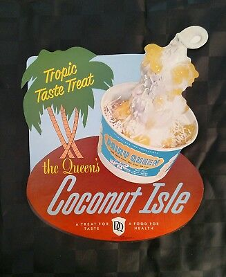 1955 DAIRY QUEEN Coconut Isle Sundae Die-Cut Paper Sign. DQ Poster.