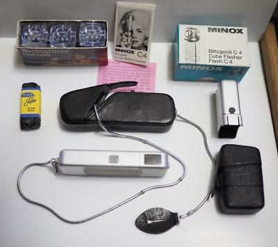Nice Minox B W/ Complan Lens, Case, Chain, Flash, Bulbs, Sealed Film Cartridge