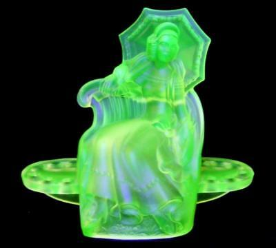 Rare Art Deco Green Depression Walther Glass Marina Uranium Lady Float Bowl Frog