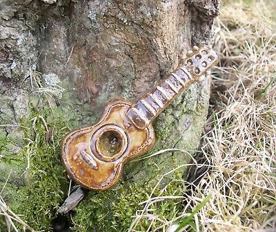 ACOUSTIC GUITAR TOBACCO PIPE ART WHIMSEY,  High Fired Stoneware by Berdej NEW