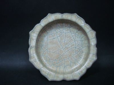 """Unusual Rare Old Chinese """"Guan"""" Kiln Porcelain Brush Washer Plate"""