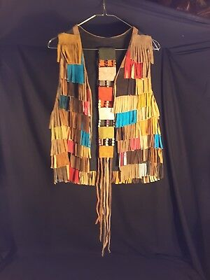 Rare 1960's Leather Suede Colorful Fringed Vest and Belt