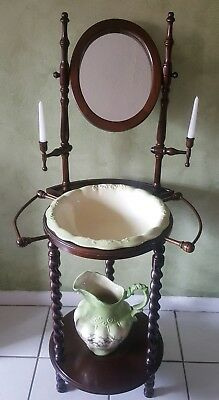 Antique Wooden Wash Basin Stand Mirror Basin Pitcher Candle Holder Towel Holder