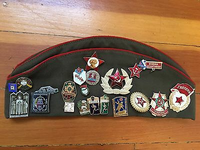 RUSSIAN MILITARY WAR HAT PILOTKA with BADGES PINS and MEDALS Khaki Green