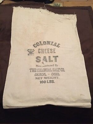 Vintage Colonial Salt Company Akron, Ohio 100 Lbs Sack Bag Cheese Salt