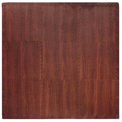 Tadpoles 9 Sq Ft Wood Grain Playmat Set, Dark Wood