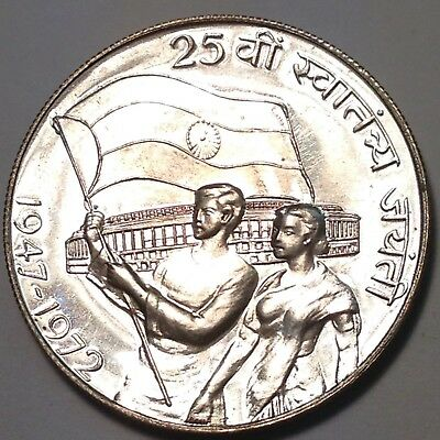 1972 Silver 10 Rupees India - Large Prooflike Gem!!  Must Take A Look!!