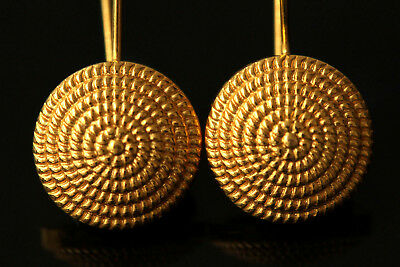 Wonderful Byzantine Replica 22 Carats (22K) Solid Gold Round Dome Earrings