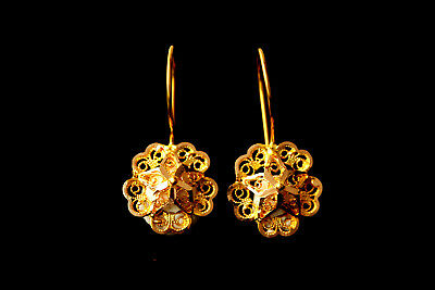 22 Carat Solid Gold Earrings Anatolian Ethnic Filigree Handcrafted Earrings
