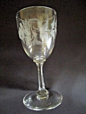Antique Old Victorian Wheel Cut Etched Fern Sherry Port Wine Glass Goblet 1800's