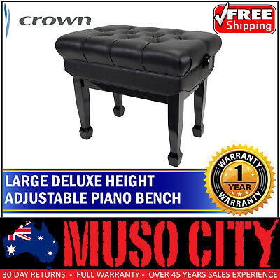 New Crown Deluxe Double Padded Height Adjustable Piano Bench Stool (Black)