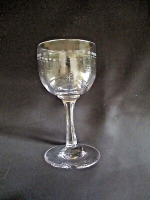 Antique Old Victorian Star Cut Etched Purple Tinge Wine Sherry Cordial Glass