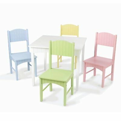 Kids 5 Piece Table & Chair Set Wood Material Pastel Colors with Non-Toxic Paint