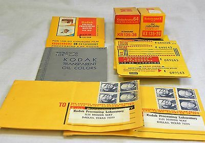 Kodak Kodachrome Film and Processing Mailers + Vintage Stamps (RKE)