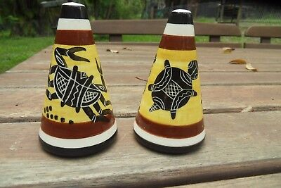 Stunning Australian Pottery hand painted Salt & Pepper Shakers Aboriginal Motif