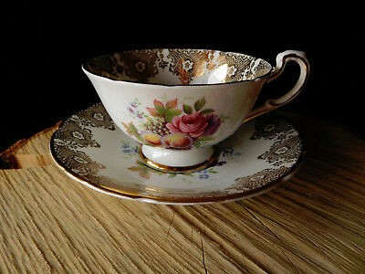 Antique Paragon Fine Bone China Tea Cup & Saucer Ensemble England Fruit Floral
