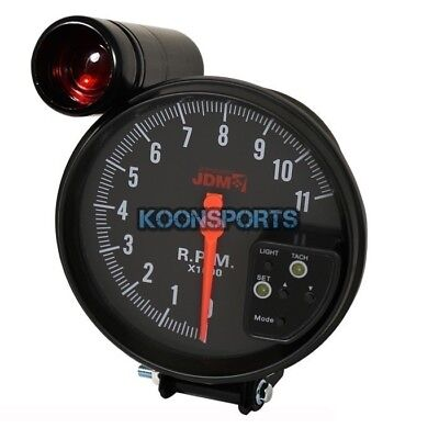 "5"" Inch Jdm RPM Tachometer Meter Gauge 7 Color 11K LED Black Shift Light Race"