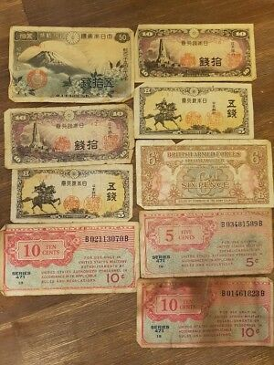 WORLDWIDE BANK NOTES - Nine in Total - Various Regions & Conditions