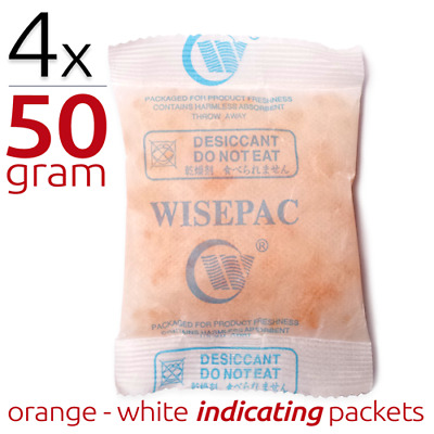 4 x 50 gram Silica Gel Packets Moisture Absorber Indicating Desiccant