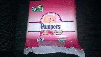 vintage  pampers baby dry plus mini 3-6kg 7-13lb 24 plastic diapers