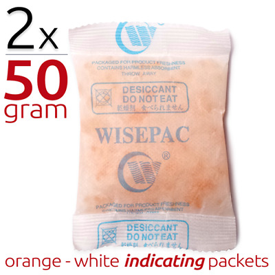 2 x 50 gram Silica Gel Packets Moisture Absorber Indicating Desiccant