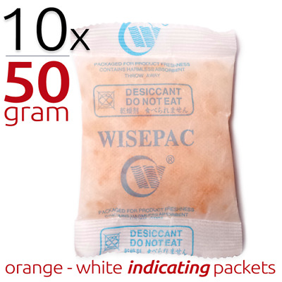 10 x 50 gram Silica Gel Packets Moisture Absorber Indicating Desiccant