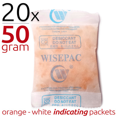 20 x 50 gram Silica Gel Packets Moisture Absorber Indicating Desiccant