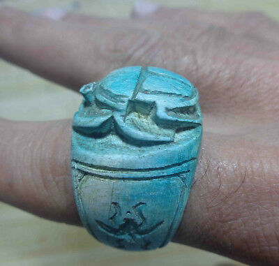 Egyptian Rare Faience Seal Scarab Pharaoh Engraved Finger Ring Hieroglyphic #171