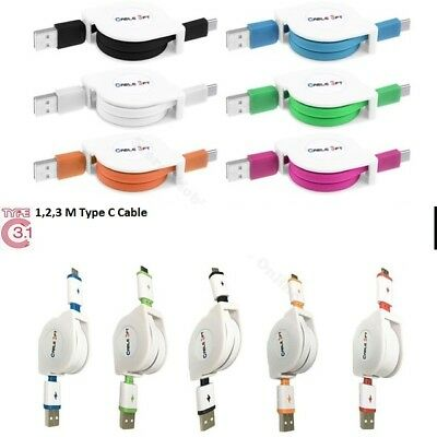 Retractable USB 3.1 Type-C Data Charge Charging Cable Samsung Galaxy S8 S8+
