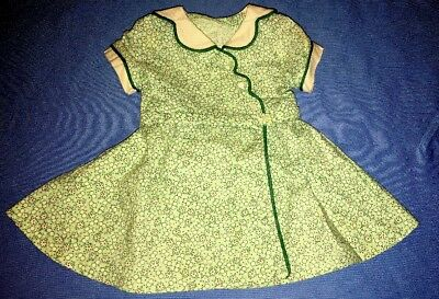 American Girl Kit Green Floral Calico Birthday Party Wrap Dress Outfit