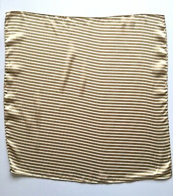 "Silk Handkerchief Cravat Scarf Gold & Cream Stripes approx 20 x 20""  51 x  51cm"