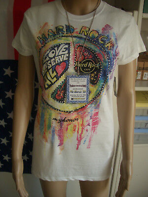 HRC Hard Rock Cafe Mykonos Girl Peace Strass Tee Size L NWT