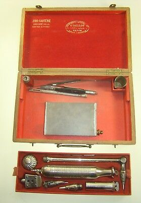 Antique Veterinary Zoo Surgical Cautery Set In Box Marked Graillot A Paris 1850