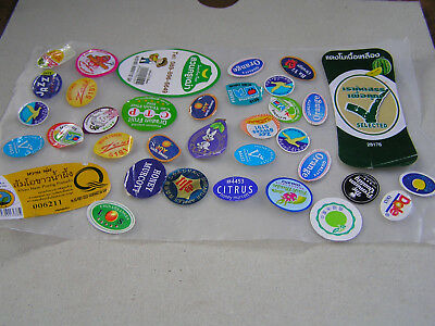 Lot of used fruit stickers labels as scan