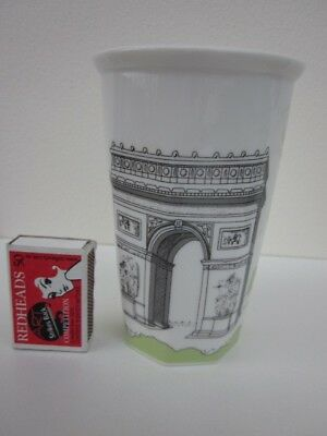 Paris Arc De Triomphe Ceramic Vase Unmarked
