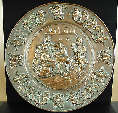 Dish wall copper scene of tavern bender 42 cm tavern party towards 1950