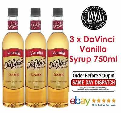 3 x DaVinci Classic Vanilla Flavoured Syrup 750ml *FAST DISPATCH * FREE SHIPPING