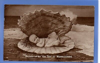 Old Vintage Rp Postcard Baby In Shell Washed Up By The Tide Morecambe Lancashire
