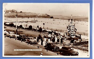 Old Vintage 1959 Rp Bamforth Postcard The Guiness Clock Morecambe Lancashire